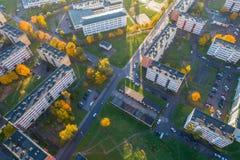 Vista aerea della città al tramonto Fotografie Stock Libere da Diritti