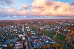 Vista aerea della città al tramonto Immagine Stock Libera da Diritti