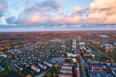 Vista aerea della città al tramonto Fotografia Stock