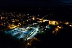 Vista aerea della città alla notte Immagine Stock