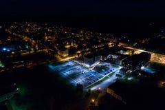 Vista aerea della città alla notte Fotografia Stock Libera da Diritti