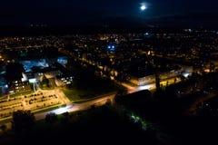 Vista aerea della città alla notte Immagini Stock Libere da Diritti
