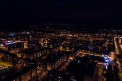 Vista aerea della città alla notte Fotografie Stock Libere da Diritti