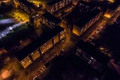 Vista aerea della città alla notte Immagini Stock