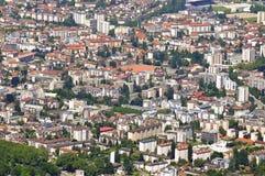 Vista aerea della città di Annecy fotografia stock