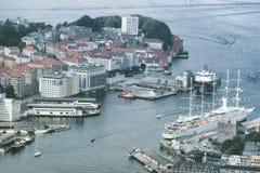 Vista aerea della città di Bergen, Norvegia Fotografia Stock Libera da Diritti