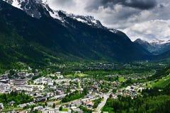 Vista aerea della città di Chamonix Fotografia Stock Libera da Diritti