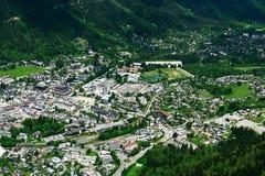 Vista aerea della città di Chamonix in Francia Fotografia Stock Libera da Diritti