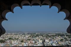 Vista aerea della città di Jaipur dalla fortificazione Fotografia Stock Libera da Diritti