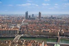 Vista aerea della città di Lione Fotografie Stock