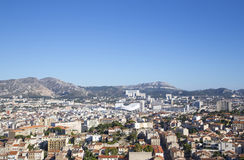 Vista aerea della città di Marsiglia e di nuovo stadio, Francia Immagine Stock