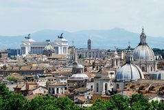 Vista aerea della città di Roma dal castello di San Angelo Fotografia Stock Libera da Diritti