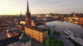 Vista aerea della città di Stoccolma video d archivio