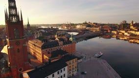 Vista aerea della città di Stoccolma archivi video