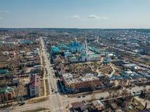Vista aerea della città di Zadonsk e della natività della nostra signora Monastery immagine stock libera da diritti