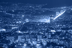 Vista aerea della città e del ponte della città di Costantinopoli Immagini Stock Libere da Diritti