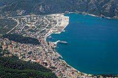 Vista aerea della città e della porta di Igoumenitsa Fotografia Stock Libera da Diritti
