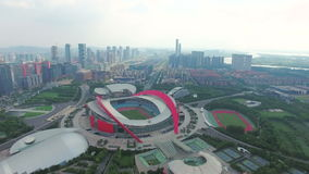 Vista aerea della città e dello Stadio Olimpico di Nanchino video d archivio