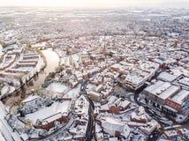 Vista aerea della città inglese storica nevosa, Shrewsbury Fotografia Stock Libera da Diritti