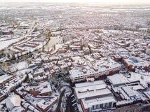 Vista aerea della città inglese storica nevosa, Shrewsbury Immagini Stock