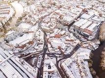 Vista aerea della città inglese storica nevosa, Shrewsbury Immagini Stock Libere da Diritti