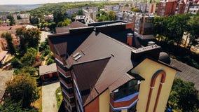 Vista aerea della città, parco da una vista di occhio dell'uccello fotografia stock libera da diritti