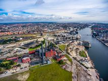 Vista aerea della città sopra la centrale elettrica di oersted di Copenhaghen HC Immagini Stock Libere da Diritti