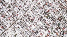 Vista aerea della città suburbana nell'inverno Immagine Stock Libera da Diritti
