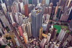 Vista aerea della città di Hong Kong Fotografia Stock