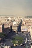 Vista aerea della città di Roma Piazza Venezia e via del Corso Fotografia Stock