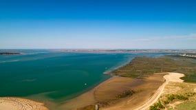 Vista aerea della costa atlantica in Ronce Les Bains, la Charente m. fotografie stock libere da diritti
