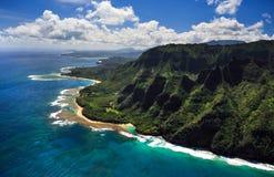 Vista aerea della costa di Kauai fotografia stock