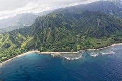 Vista aerea della costa di napali di Kauai Immagine Stock