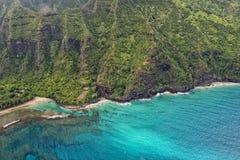 Vista aerea della costa di napali di Kauai Fotografia Stock Libera da Diritti