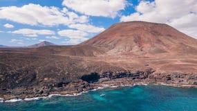 Vista aerea della costa Est di Fuerteventura immagine stock