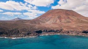 Vista aerea della costa Est di Fuerteventura fotografia stock