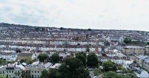 Vista aerea della costa Ovest della città di Brighton, Inghilterra, con le case a terrazze vittoriane variopinte Fotografia Stock