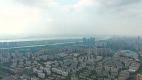 Vista aerea della costruzione e della città di Nanchino archivi video