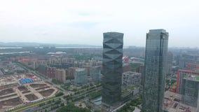 Vista aerea della costruzione e della città di Nanchino video d archivio