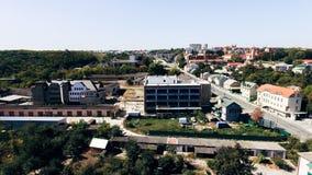 Vista aerea della costruzione in costruzione nella citt? l'ucraina fotografia stock