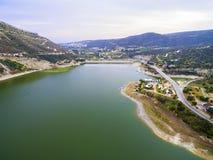 Vista aerea della diga di Germasogeia, Limassol, Cipro Immagini Stock