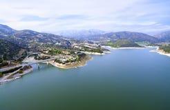 Vista aerea della diga di Germasogeia, Limassol, Cipro Immagine Stock