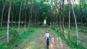 Vista aerea della donna sulla bicicletta elettrica nella foresta video d archivio