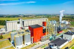 Vista aerea della fabbrica del combustibile biologico Fotografie Stock Libere da Diritti
