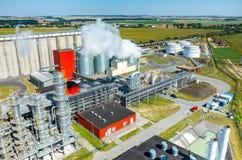 Vista aerea della fabbrica del combustibile biologico Fotografia Stock Libera da Diritti
