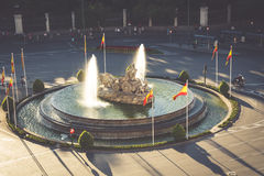 Vista aerea della fontana di Cibeles a Plaza de Cibeles a Madrid dentro Fotografia Stock Libera da Diritti