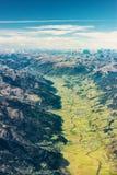 Vista aerea della foto sopra la valle verde Fotografia Stock Libera da Diritti