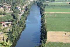 Vista aerea della Francia Cadrieu del fiume del lotto Immagine Stock