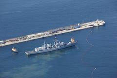 Vista aerea della fregata militare Fotografia Stock Libera da Diritti