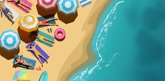 Vista aerea della gente che si rilassa in vacanza royalty illustrazione gratis